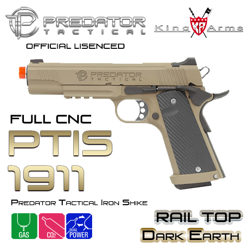 Predator Tactical Iron Shrike 1911 Rail Top / DE